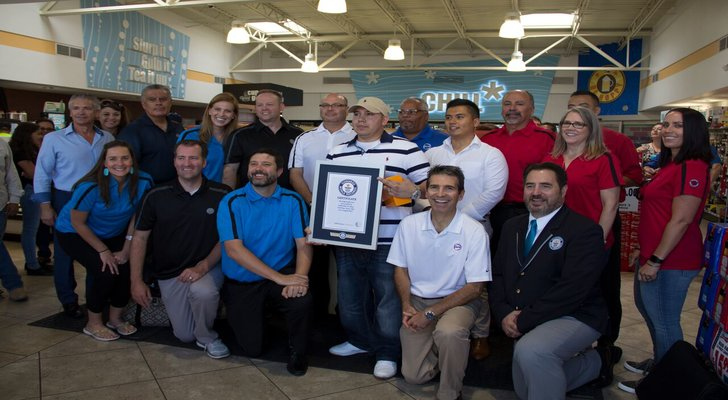 It's official: Alon Brands Inc. team members, representatives from Guinness World Records and El Paso resident Andrew Saldivar mark the occasion at the ALON/7-Eleven on 320 S. Americas Ave in El Paso.
