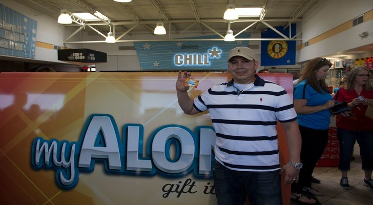 Grand prize winner Andrew Saldivar gets to take home his own — although smaller — Alon gift card.