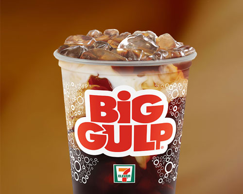 7-Eleven Big Gulp filled with iced coffee