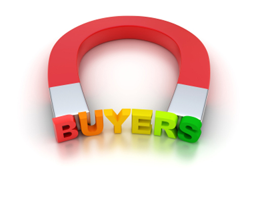 An image of a magnet attracting the word buyers