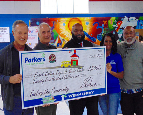 Parker's presents Boys and Girls Club with a $2,500 check