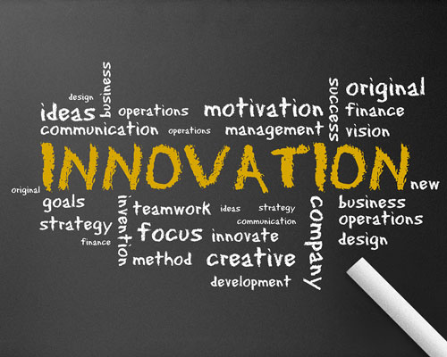 chalkboard image of innovation and related words