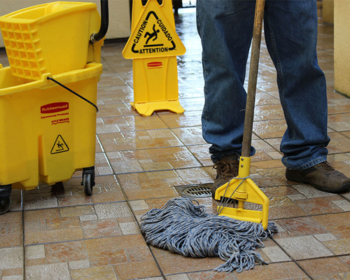 Cleaning store floor