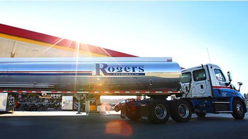 A Rogers Petroleum fuel tanker truck