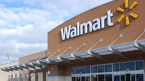 The exterior of a Walmart store