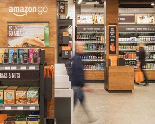 walking into Amazon Go via turnstyle