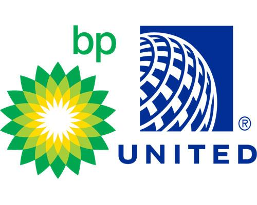 BP and United Airlines logos