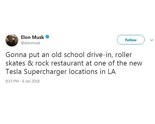 Elon Musk tweet about new Tesla Supercharger