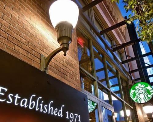 The exterior of a Starbucks location