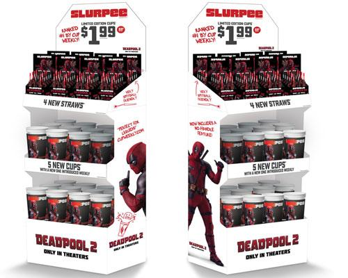 Deadpool-branded cups and straws at 7-Eleven