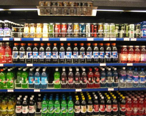 Beverage section in a store