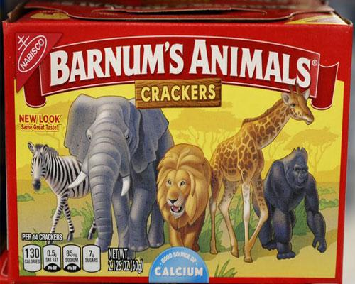 Barnum's Animals Crackers in the new redesigned packaging.