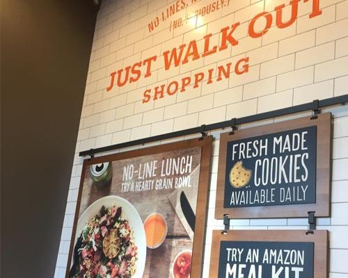 In the inside of an Amazon Go location