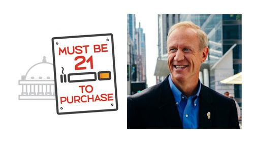Gov. Bruce Rauner said tobacco sales would move to neighboring states.