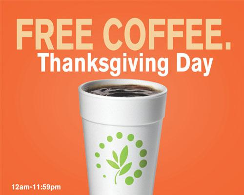 Cumberland Farms free coffee Thanksgiving promo