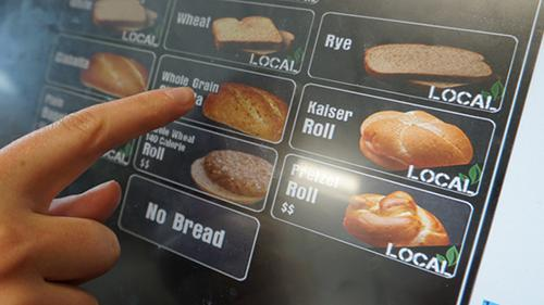 Rutter's local options for bread displayed on kiosk