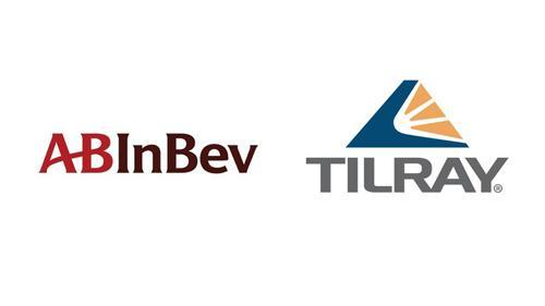 ABIn Bev ad Tilray logos