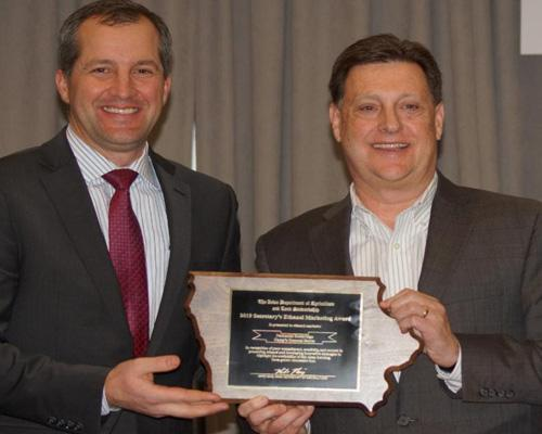 Doug Beech, legal counsel and director of public affairs for Casey's General Stores, accepted the Ethanol Marketing Award from Iowa Secretary of Agriculture Mike Naig.