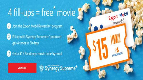 Exxon Mobil Rewards+ Fandango free movie giveaway