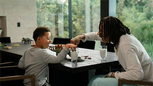 """Musician Wiz Khalifa and his five-year-old son, Sebastian, in the brand's newest TV ad for """"Stay Playful."""""""