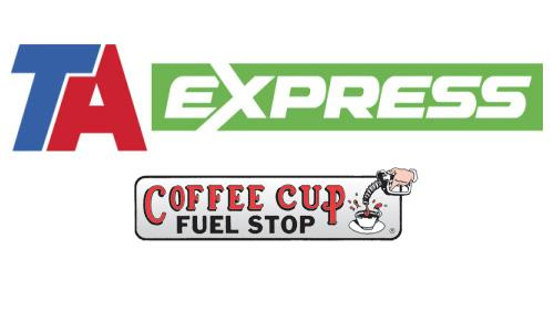 Logos for TA Express and Coffee Cup Fuel Stops