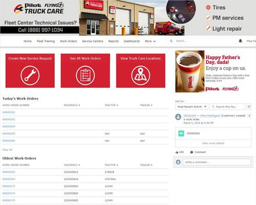 Pilot Flying J's Fleet Center provides fleets with a window into their Truck Care account at the touch of a button.