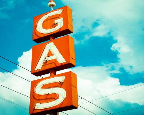 A sign for gas