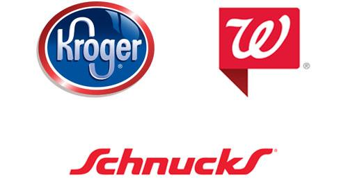 Logos for Walgreens, Kroger and Schnuck Markets