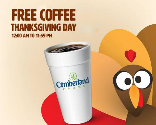Cumberland Farms is also offering free coffee, hot or iced in any size on Thanksgiving