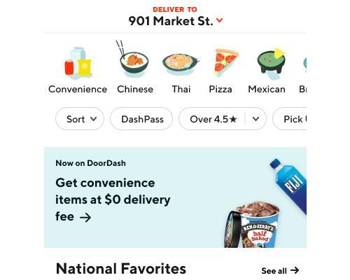 DoorDash Convenience Delivery Option