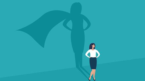 Female leader wearing a cape