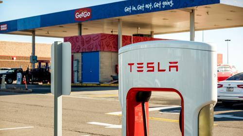 A Tesla EV charging station at GetGo