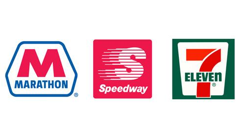 Logos for Marathon Petroleum, Speedway and 7-Eleven