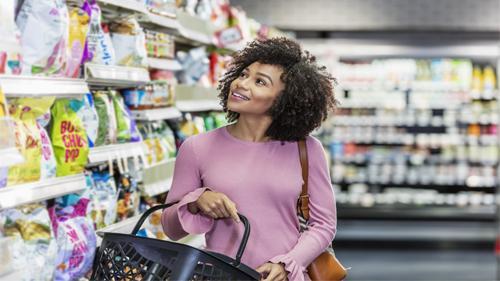 woman browsing snacks
