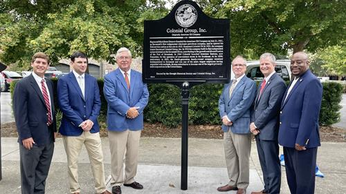 Colonial Group unveils a historical marker to celebrate a century in business.