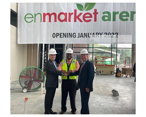 Celebrating the naming rights partnership are (from left) Brett Giesick, president, Enmarket; Savannah Mayor Van Johnson; and Peter Luukko, chairman, Oak View Group Facilities.