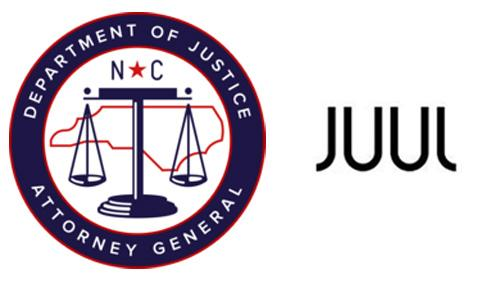 Logos for North Carolina AG and Juul