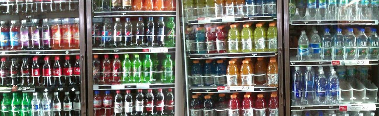 Cold beverages in the cooler at a store