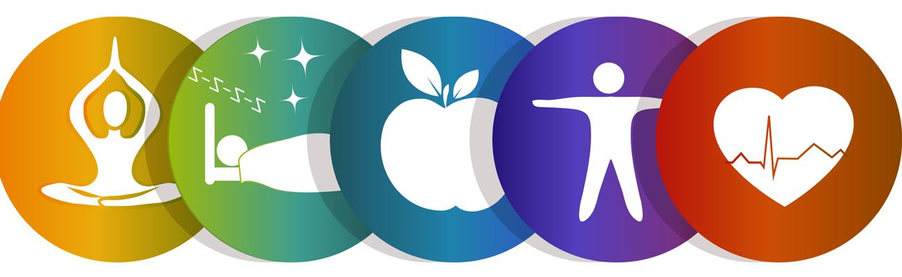 Graphics depicting health and wellness like sleep, fruit, and exercise