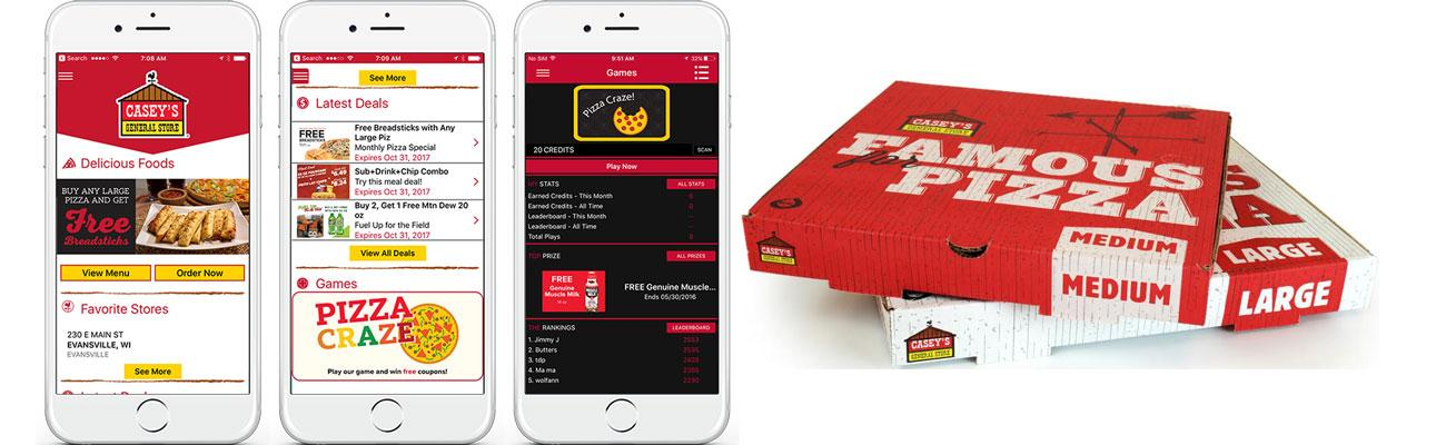 Casey's General Store mobile app interface and pizza boxes