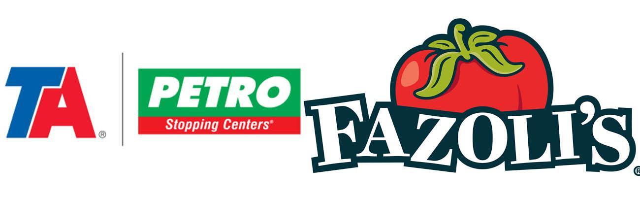 Logos for TA Petro brands and Fazoli's restaurant brand