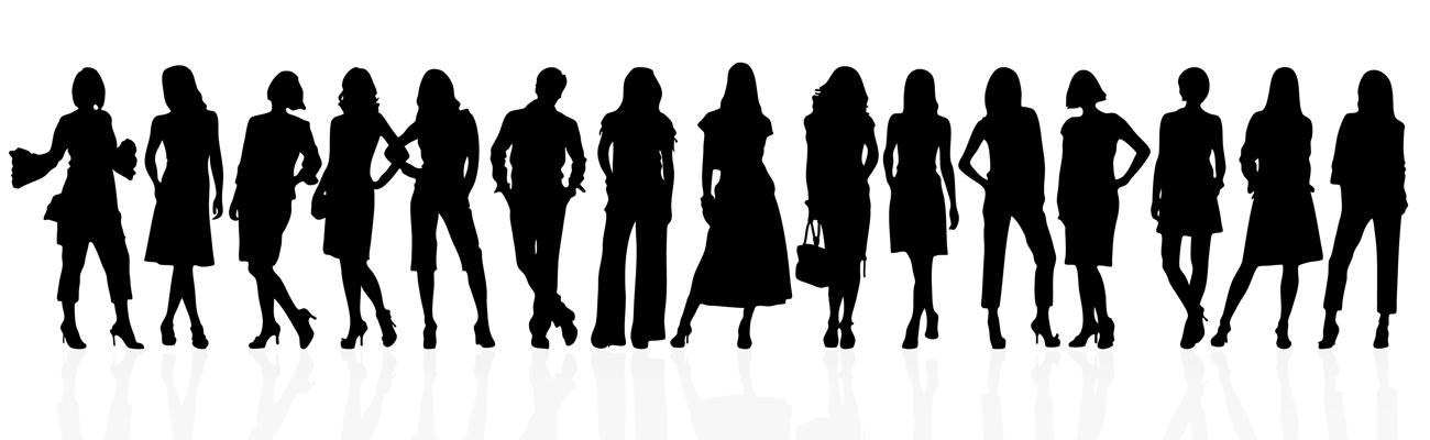 Silhouette images of women executives