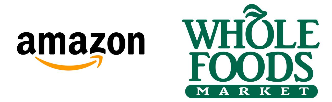 Logos for Amazon and Whole Foods