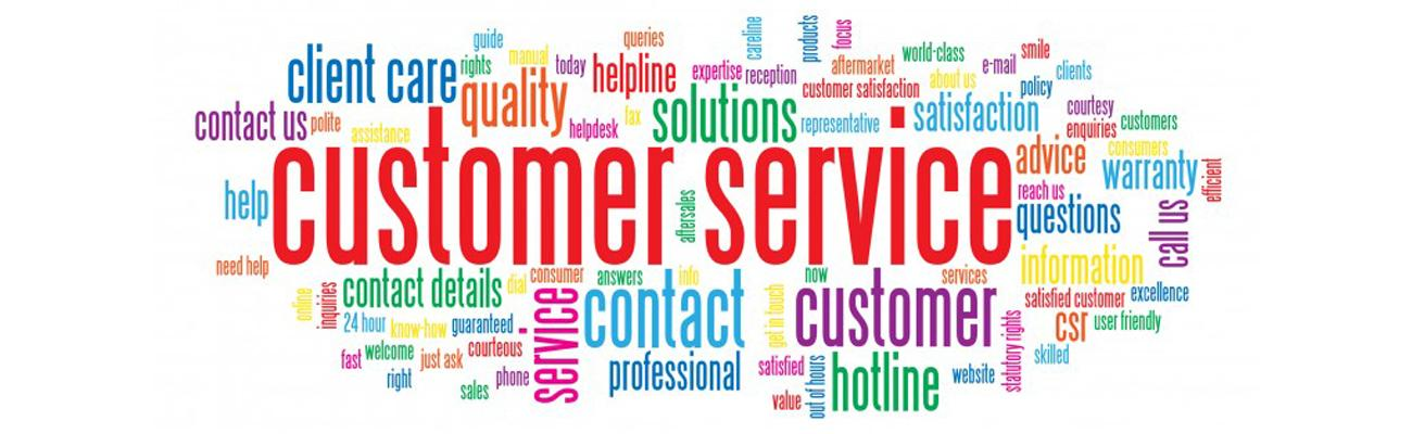A collage of a customer service words