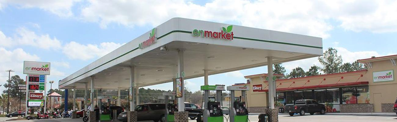 The exterior of an Enmarket convenience store