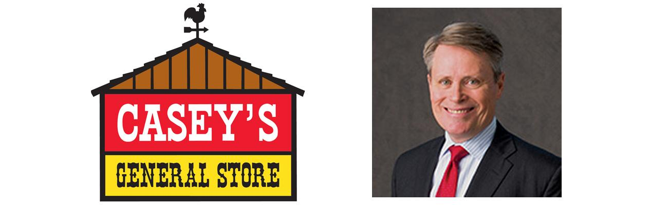Casey's General Store logo and President Terry Handley