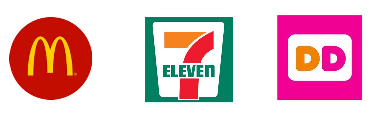 Logos for McDonald's, 7-Eleven and Dunkin' Donuts