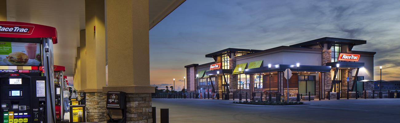 The exterior of a RaceTrac convenience store and gas station