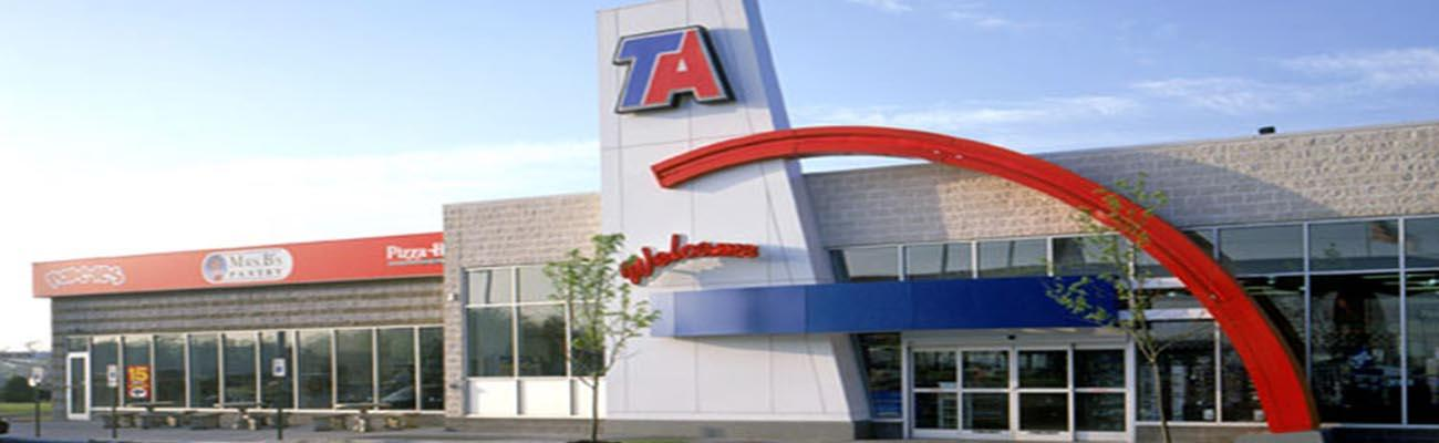 The exterior of a TA travel center