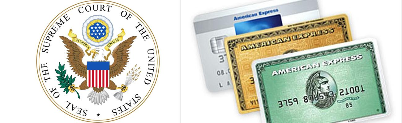 The US Supreme Court seal and American Express cards
